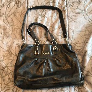 Coach black leather convertible bag